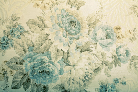 Vintage wallpaper with blue floral victorian pattern