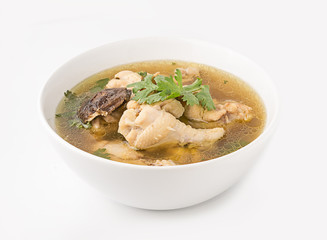Traditional chicken broth on white background
