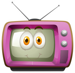 Pink television with face