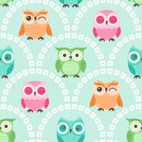 Seamless Cute Cartoon Owls Wallpaper Pattern Background