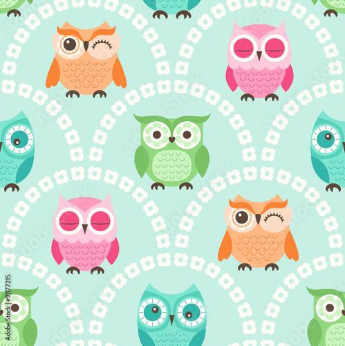 Seamless cute cartoon owls wallpaper pattern background stock seamless cute cartoon owls wallpaper pattern background voltagebd Images