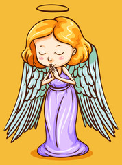Angel with wings praying