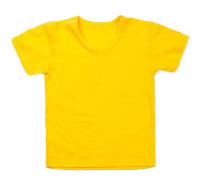 Kid yellow tshirt on white background