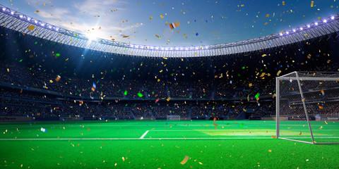 Evening stadium arena soccer field championship win!