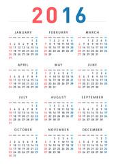 A calendar of 2016