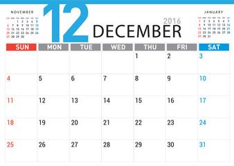 planning calendar simple template December 2016