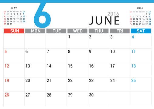 planning calendar simple template June 2016