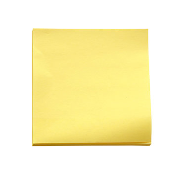 Yellow sticky note on white background (clipping path)