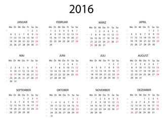 Jahreskalender 2016 schlicht quer