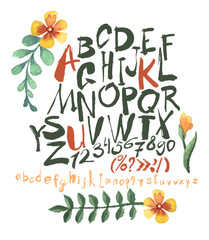 alphabet and numbers hand drawn in vector with watercolor flowers