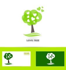 Tree heart love concept logo