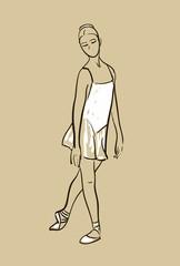 vector sketch of girls ballerina