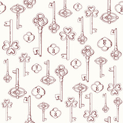 Seamless keys pattern illustration background in vector.