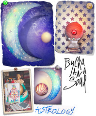 Astrolocic collage with star's,crystal ball and moon
