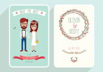 Wedding invitation set Collection of two rustic invitation