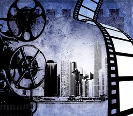 Vintage film strip background with old projector and city skyline