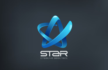Blue Ribbon Business Star Logo champion abstract design vector