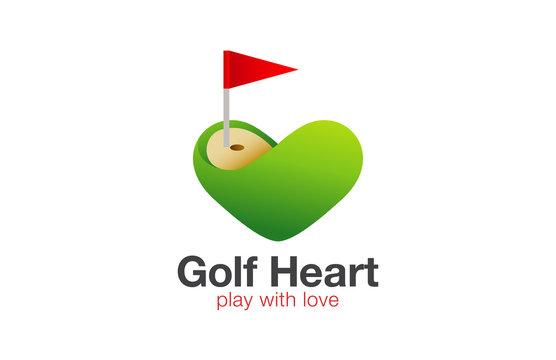 Golf field Logo Heart shape vector. Love Play Golf concept