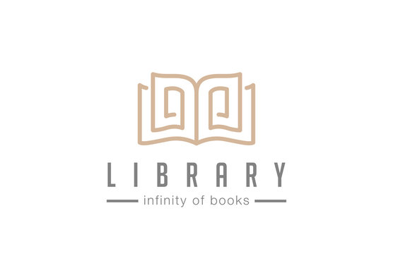 Open Book Logo Lawyer Education abstract design vector