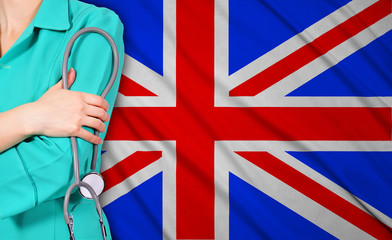 female doctor and  britain flag