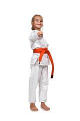 girl practice karate