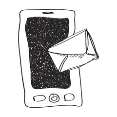 Simple doodle of a mobile with mail