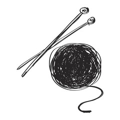 Simple doodle of wool and knitting needles