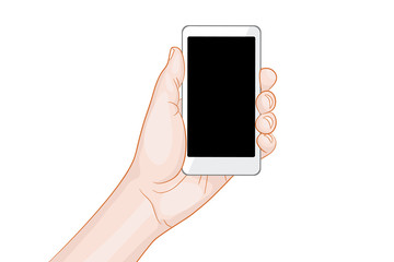 hand holding a white smartphone with blank screen