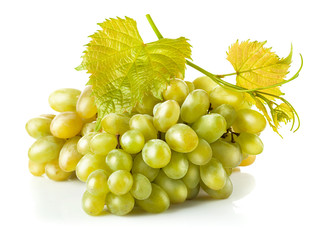 Cluster white grapes with leaf. Isolated on white background