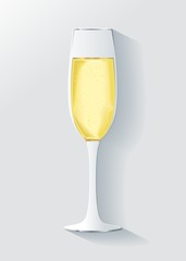 Realistic celebration volumetric glass colorful champagne with bubbles on white background