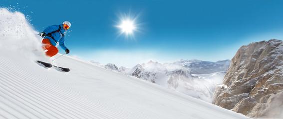 Garden Poster Winter sports Man skier running downhill