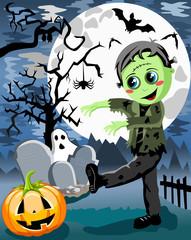 Halloween Frankenstein Kid Monster