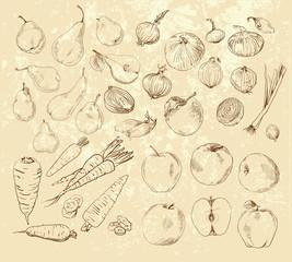handmade work - set fruits and vegetables