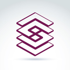 Complex geometric corporate element. Vector abstract entwined fi