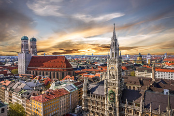 Munich sunset panoramic architecture, Bavaria, Germany.  Wall mural