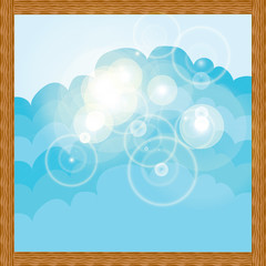 abstract illustration white could on blue background