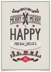 Happy new year wishes design card in retro poster style on grunge background