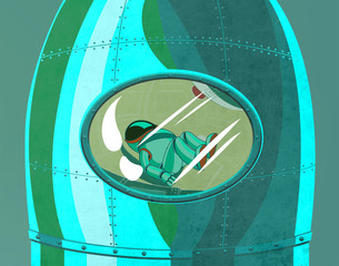 Cosmonaut in the rocket cockpit close up. Space voyage to the planets. Digital background raster illustration.