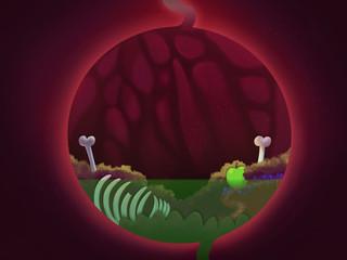 Food inside the stomach close up. Clip art digestive system. Digital background raster illustration