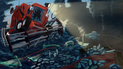 Combine Harvester broke a wall made of bricks. Digital background raster illustration.