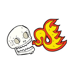 cartoon flaming skull