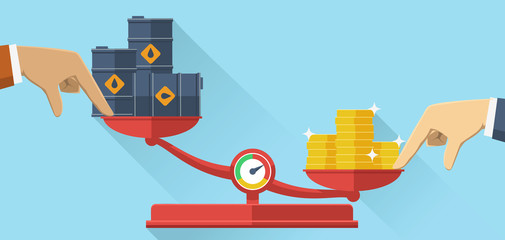 Oil crisis. Scales with oil barrels and gold coins, Oil crisis flat design.