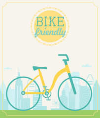 Vintage Style Poster with Touring Recreational Bicycle and Cityscape Background. Bike Friendly City Sign