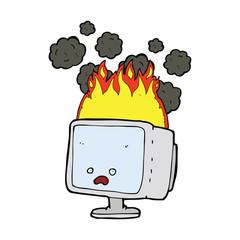 cartoon burning computer
