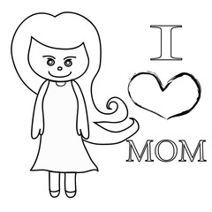 Mother's Day cartoon illustrations on white background