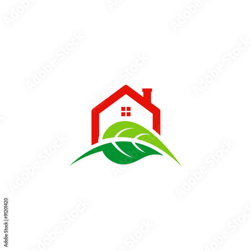 House green leaf ecology garden logo stock image and Homes and gardens logo