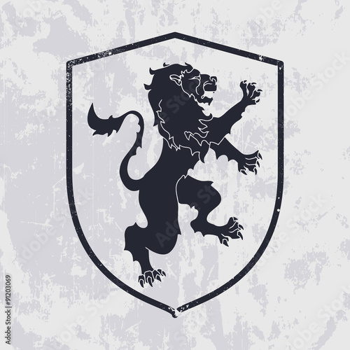 Lion in shield on grunge background - heraldic style