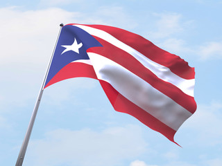 Puerto Rico flag flying on clear sky.