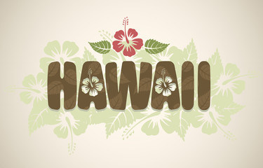 Vector Hawaii word with hibiscus flowers