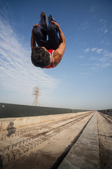 Backflip by athlete in Chennai, India
